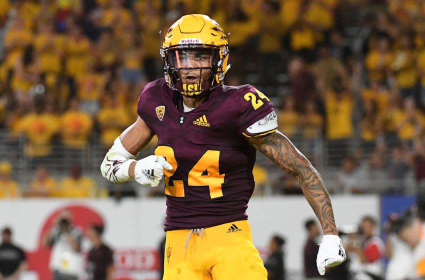 TEMPE, AZ - SEPTEMBER 01: Defensive back Chase Lucas #24 of the Arizona State Sun Devils celebrates after sacking quarterback quarterback D.J. Gillins #15 of the UTSA Roadrunners (not pictured) in the first half at Sun Devil Stadium on September 1, 2018 in Tempe, Arizona. (Photo by Jennifer Stewart/Getty Images)