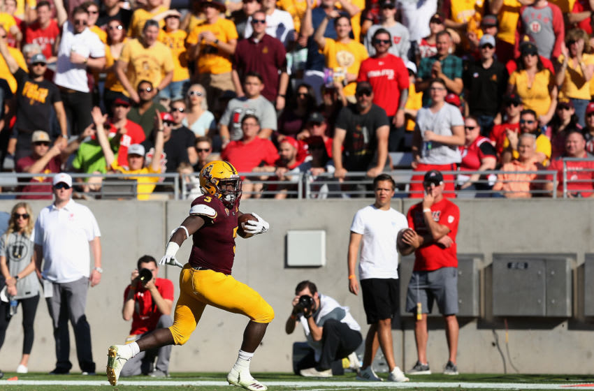 TEMPE, AZ - NOVEMBER 03: Running back Eno Benjamin #3 of the Arizona State Sun Devils rushes the football against the Utah Utes during the second half of the college football game at Sun Devil Stadium on November 3, 2018 in Tempe, Arizona. The Sun Devils defeated the 38-20. (Photo by Christian Petersen/Getty Images)