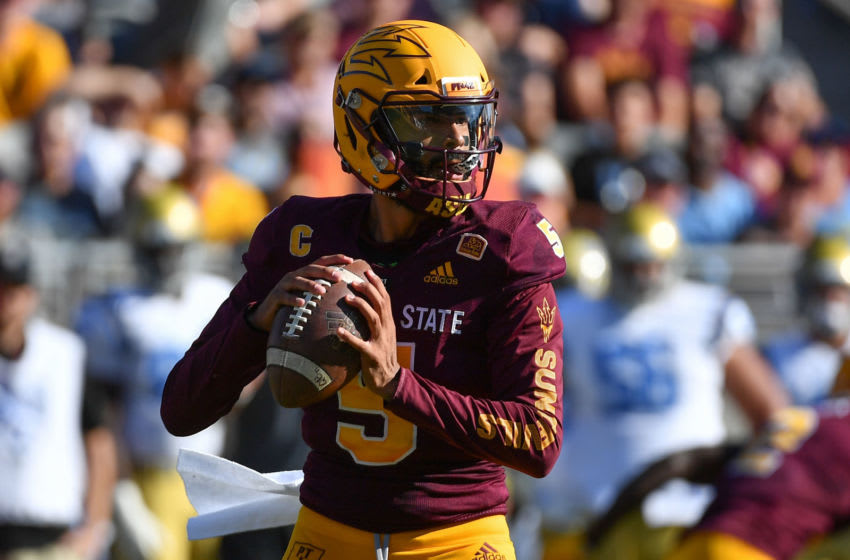 TEMPE, AZ - NOVEMBER 10: Quarterback Manny Wilkins #5 of the Arizona State Sun Devils looks to make a pass in the game against the UCLA Bruins at Sun Devil Stadium on November 10, 2018 in Tempe, Arizona. The Arizona State Sun Devils won 31-28. (Photo by Jennifer Stewart/Getty Images)