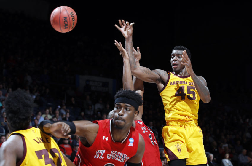 DAYTON, OHIO - MARCH 20: Zylan Cheatham #45 of the Arizona State Sun Devils passes the ball during the first half against the St. John's Red Storm in the First Four of the 2019 NCAA Men's Basketball Tournament at UD Arena on March 20, 2019 in Dayton, Ohio. (Photo by Joe Robbins/Getty Images)