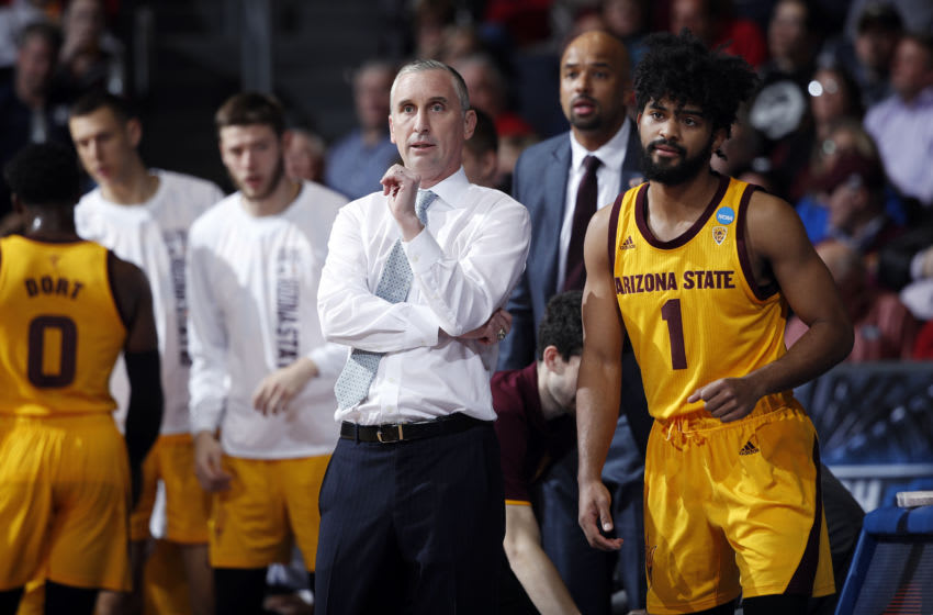DAYTON, OHIO - MARCH 20: Head coach Bobby Hurley of the Arizona State Sun Devils reacts during the first half against the St. John's Red Storm in the First Four of the 2019 NCAA Men's Basketball Tournament at UD Arena on March 20, 2019 in Dayton, Ohio. (Photo by Joe Robbins/Getty Images)