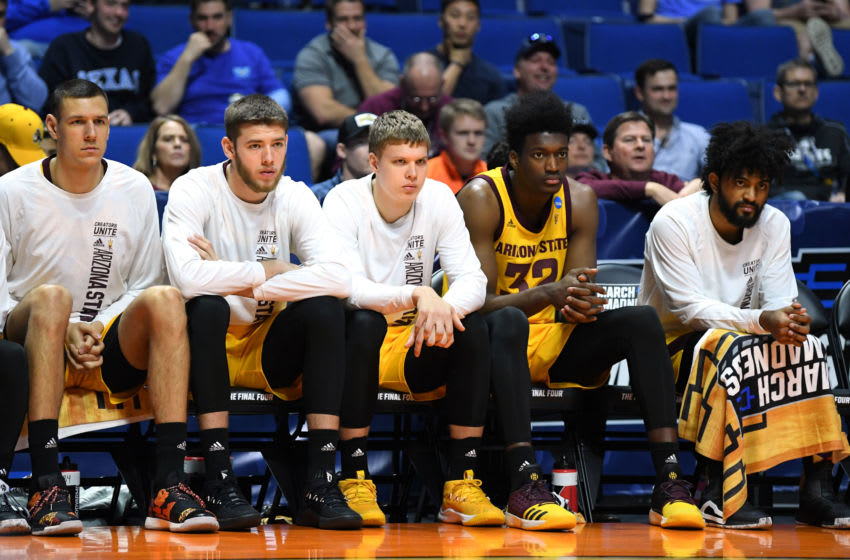 TULSA, OKLAHOMA - MARCH 22: The Arizona State Sun Devils bench look on in the final minutes of the first round game of the 2019 NCAA Men's Basketball Tournament against the Buffalo Bulls at BOK Center on March 22, 2019 in Tulsa, Oklahoma. (Photo by Harry How/Getty Images)