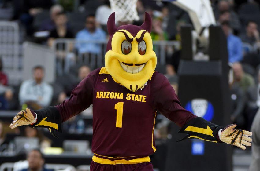 LAS VEGAS, NV - MARCH 09: Arizona State Sun Devils mascot Sparky the Sun Devil performs during the team's quarterfinal game of the Pac-12 Basketball Tournament against the Oregon Ducks T-Mobile Arena on March 9, 2017 in Las Vegas, Nevada. Oregon won 80-57. (Photo by Ethan Miller/Getty Images)