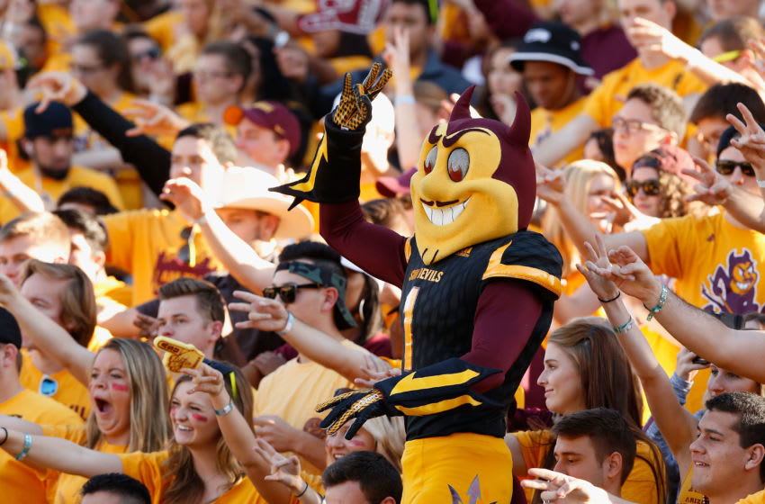 TEMPE, AZ - NOVEMBER 14: Arizona State Sun Devils masct, 'Sparky' performs during the college football game against the Washington Huskies at Sun Devil Stadium on November 14, 2015 in Tempe, Arizona. The Sun Devils defeated the Huskies 27-17. (Photo by Christian Petersen/Getty Images)