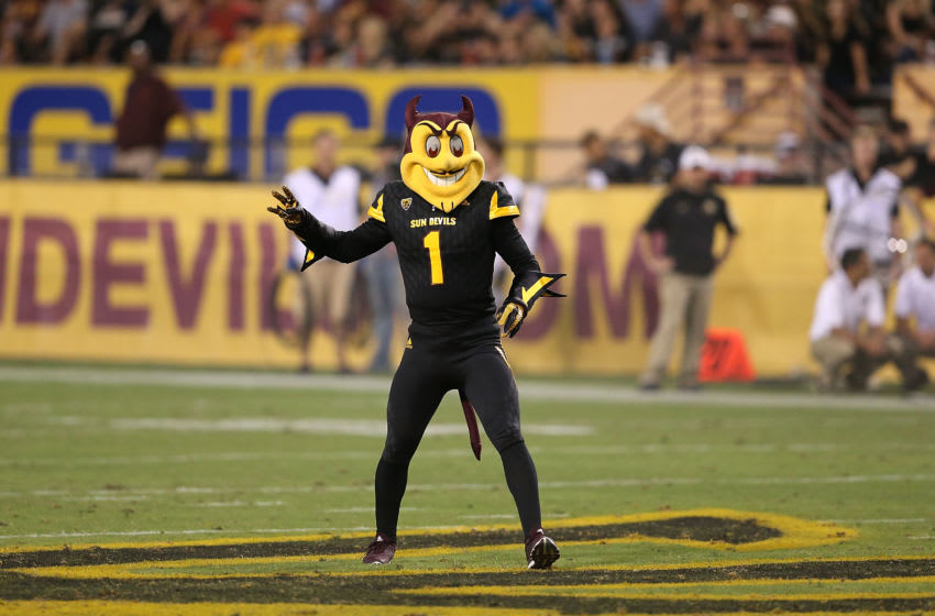 TEMPE, AZ - OCTOBER 10: Arizona State Sun Devils mascot Sparky performs on the field during the fourth quarter of the college football game against the Colorado Buffaloes at Sun Devil Stadium on October 10, 2015 in Tempe, Arizona. (Photo by Chris Coduto/Getty Images)