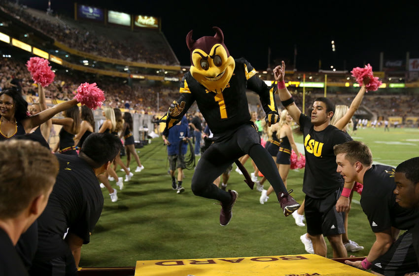 TEMPE, AZ - OCTOBER 10: Arizona State Sun Devils mascot Sparky performs during the third quarter of the college football game against the Colorado Buffaloes at Sun Devil Stadium on October 10, 2015 in Tempe, Arizona. (Photo by Chris Coduto/Getty Images)