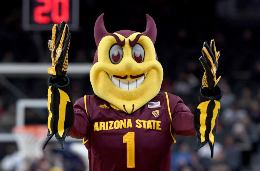 LAS VEGAS, NV - MARCH 07: Arizona State Sun Devils mascot Sparky the Sun Devil stands on the court during the team's first-round game of the Pac-12 basketball tournament against the Colorado Buffaloes at T-Mobile Arena on March 7, 2018 in Las Vegas, Nevada. The Buffaloes won 97-85. (Photo by Ethan Miller/Getty Images)