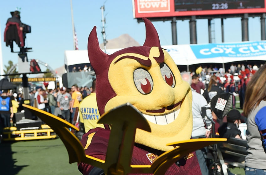 LAS VEGAS, NEVADA - DECEMBER 15: Arizona State Sun Devils mascot Sparky the Sun Devil poses before the Mitsubishi Motors Las Vegas Bowl against the Fresno State Bulldogs at Sam Boyd Stadium on December 15, 2018 in Las Vegas, Nevada. The Bulldogs defeated the Sun Devils 31-20. (Photo by Ethan Miller/Getty Images)