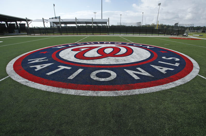 WEST PALM BEACH, FL - FEBRUARY 28: The Washington Nationals logo on one of the practice fields at The Ballpark of the Palm Beaches prior to a spring training game against the Houston Astros on February 28, 2017 in West Palm Beach, Florida. (Photo by Joel Auerbach/Getty Images)