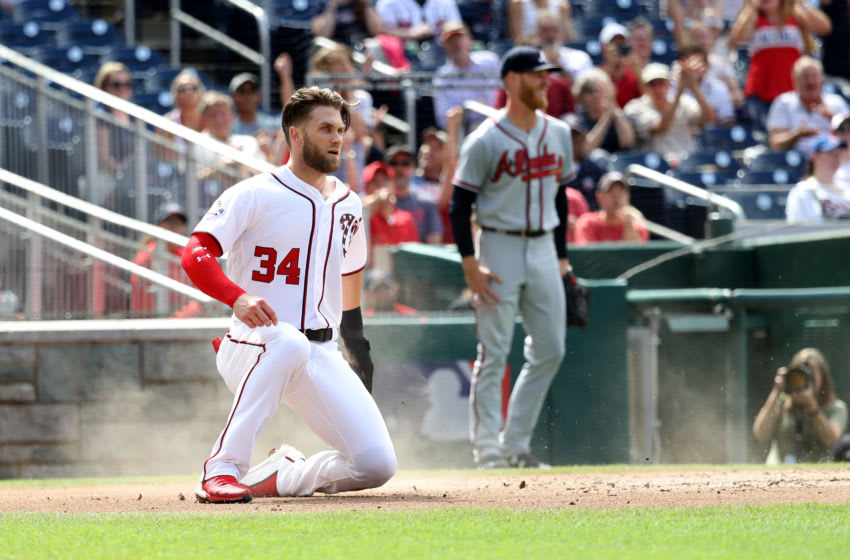 WASHINGTON, DC - JULY 22: Bryce Harper #34 of the Washington Nationals scores a first inning run against the Atlanta Braves at Nationals Park on July 22, 2018 in Washington, DC. (Photo by Rob Carr/Getty Images)