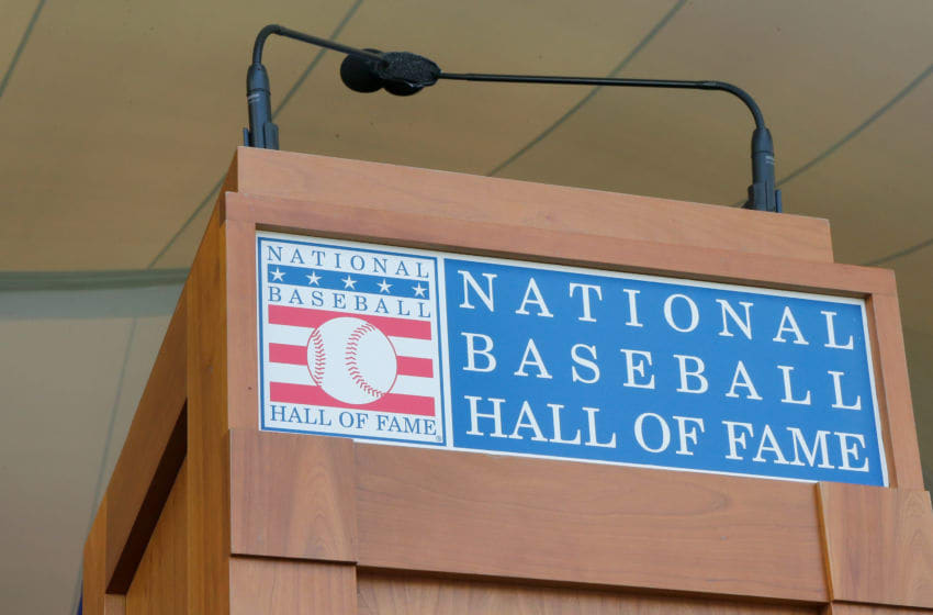 COOPERSTOWN, NY - JULY 29: The podium is seen at Clark Sports Center during the Baseball Hall of Fame induction ceremony on July 29, 2018 in Cooperstown, New York. (Photo by Jim McIsaac/Getty Images)