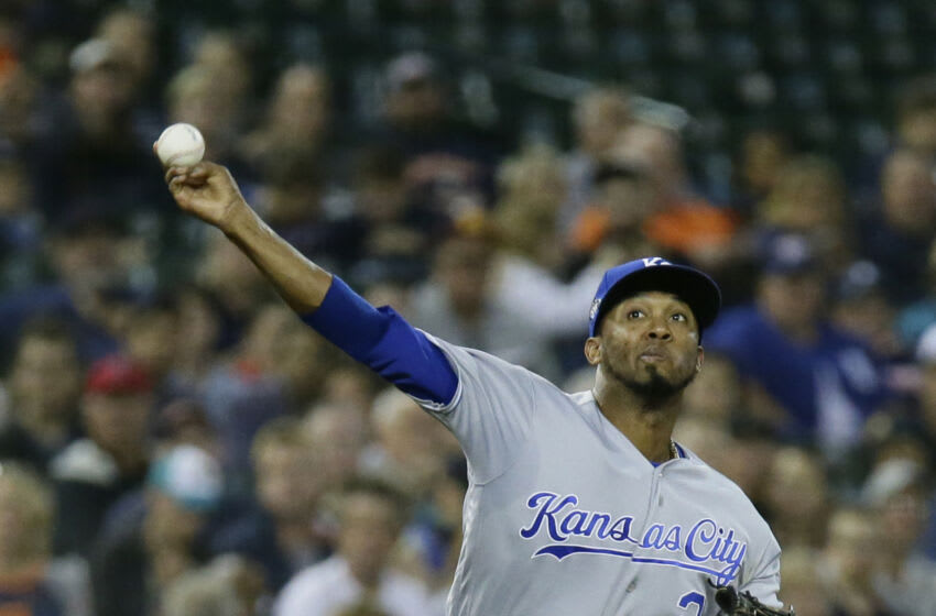 Third baseman Alcides Escobar #2 of the Kansas City Royals throws out Pete Kozma of the Detroit Tigers at first base during the fifth inning at Comerica Park on September 21, 2018 in Detroit, Michigan. The Royals defeated the Tigers 4-3. (Photo by Duane Burleson/Getty Images)