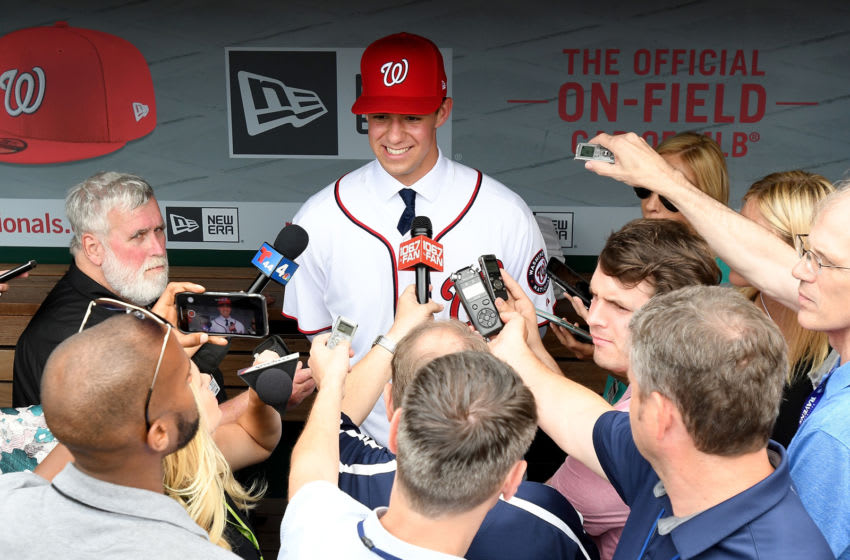 WASHINGTON, DC - JUNE 17: Washington Nationals 2019 first round pick Jackson Rutledge talks to the media before the game between the Washington Nationals and the Philadelphia Phillies at Nationals Park on June 17, 2019 in Washington, DC. (Photo by Greg Fiume/Getty Images)