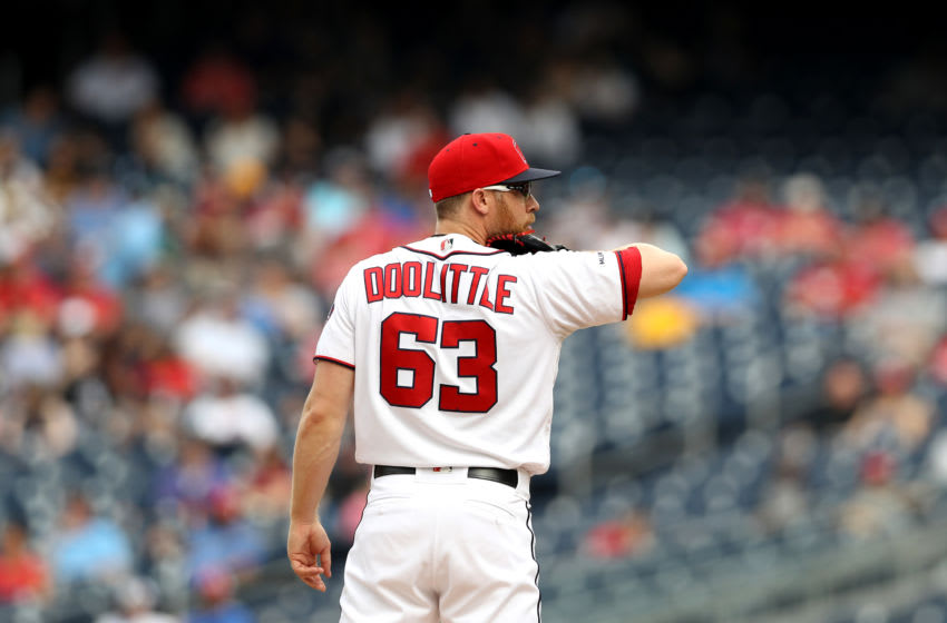 WASHINGTON, DC - JUNE 05: Sean Doolittle #63 of the Washington Nationals waits to pitch against the Chicago White Sox in the ninth inning at Nationals Park on June 05, 2019 in Washington, DC. (Photo by Rob Carr/Getty Images)