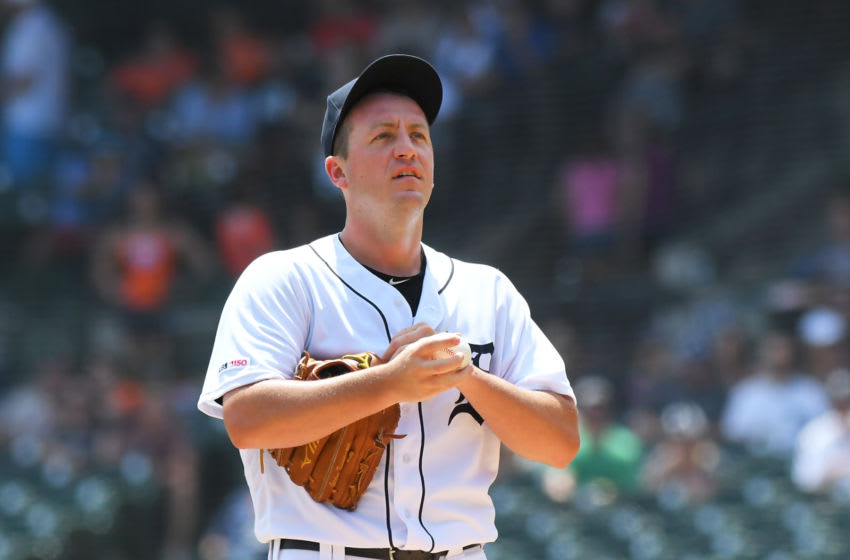 Jordan Zimmermann #27 of the Detroit Tigers looks on during the game against the Washington Nationals at Comerica Park on June 30, 2019 in Detroit, Michigan. The Nationals defeated the Tigers 2-1. (Photo by Mark Cunningham/MLB Photos via Getty Images)
