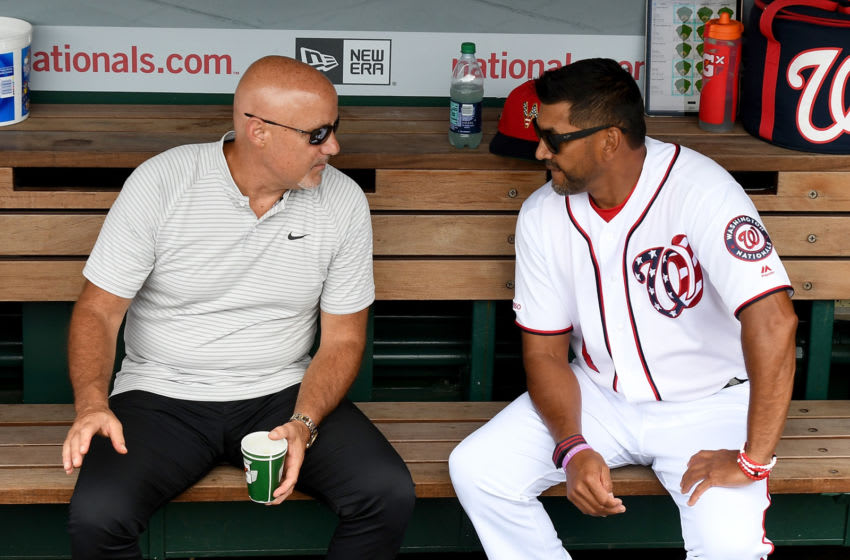 WASHINGTON, DC - JULY 07: Manager Dave Martinez #4 of the Washington Nationals talks with General Manager Mike Rizzo before the game against the Kansas City Royals at Nationals Park on July 7, 2019 in Washington, DC. (Photo by Greg Fiume/Getty Images)