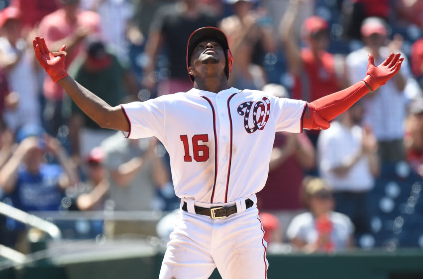WASHINGTON, DC - JULY 07: Victor Robles #16 of the Washington Nationals celebrates after hitting a home run in the seventh inning against the Kansas City Royals at Nationals Park on July 7, 2019 in Washington, DC. (Photo by Greg Fiume/Getty Images)