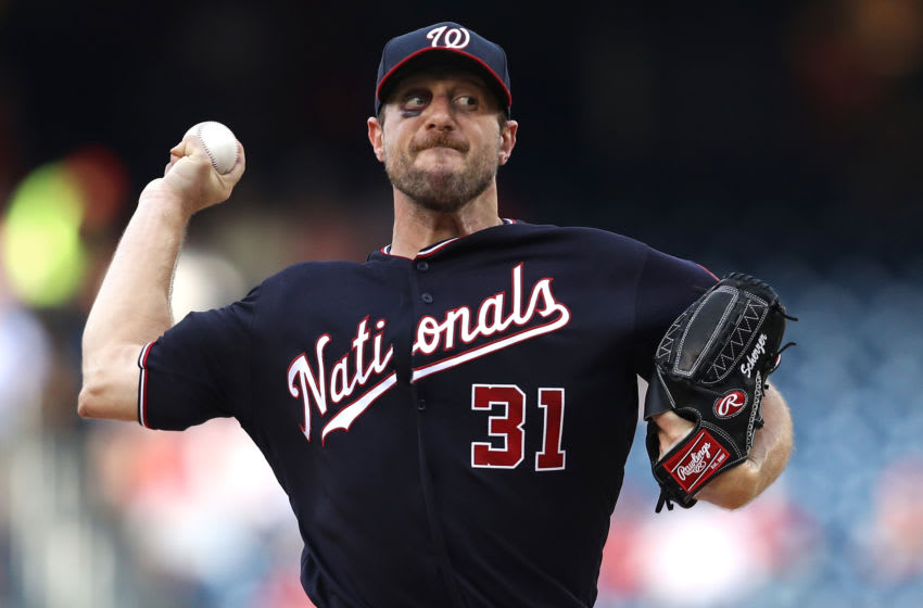 WASHINGTON, DC - JUNE 19: Starting pitcher Max Scherzer #31 of the Washington Nationals works the first inning against the Philadelphia Phillies in game two of a double header at Nationals Park on June 19, 2019 in Washington, DC. (Photo by Patrick Smith/Getty Images)