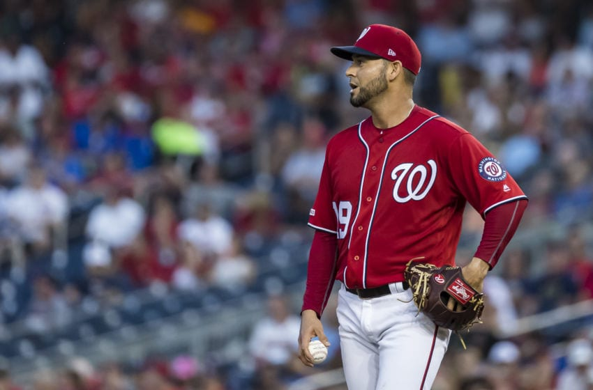 WASHINGTON, DC - AUGUST 17: Anibal Sanchez #19 of the Washington Nationals looks on from the pitchers mound against the Milwaukee Brewers during the third inning at Nationals Park on August 17, 2019 in Washington, DC. (Photo by Scott Taetsch/Getty Images)