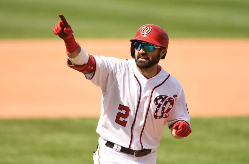 WASHINGTON, DC - AUGUST 18: Adam Eaton #2 of the Washington Nationals celebrates a solo home run in the fifth inning during a baseball game against the Milwaukee Brewers at Nationals Park on August 18, 2019 in Washington, DC. (Photo by Mitchell Layton/Getty Images)