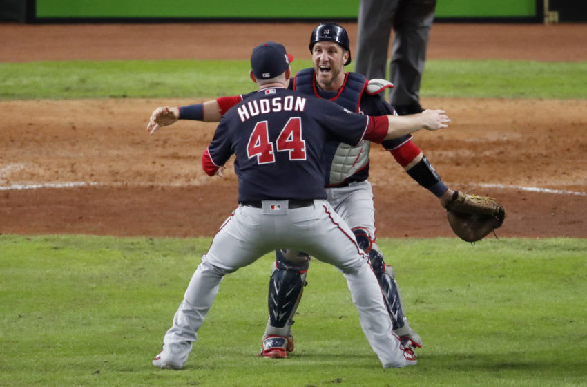 HOUSTON, TEXAS - OCTOBER 30: Daniel Hudson #44 and Yan Gomes #10 of the Washington Nationals celebrate after defeating the Houston Astros 6-2 in Game Seven to win the 2019 World Series in Game Seven of the 2019 World Series at Minute Maid Park on October 30, 2019 in Houston, Texas. (Photo by Tim Warner/Getty Images)