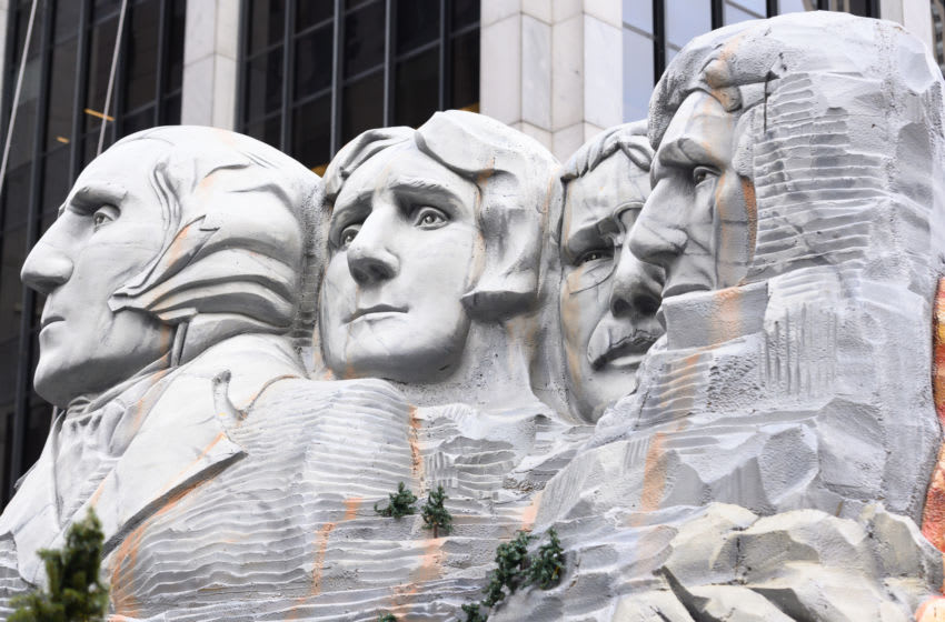 NEW YORK, NEW YORK - NOVEMBER 28: Mount Rushmore float is seen during the 93rd Annual Macy's Thanksgiving Day Parade on November 28, 2019 in New York City. (Photo by Noam Galai/Getty Images)