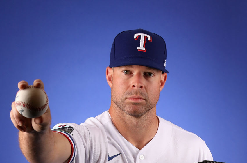 Pitcher Corey Kluber #28 of the Texas Rangers poses for a portrait during MLB media day on February 19, 2020 in Surprise, Arizona. (Photo by Christian Petersen/Getty Images)