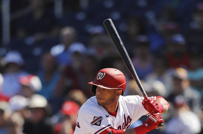 FEBRUARY 28: Yadiel Hernandez #29 of the Washington Nationals at bat against the Tampa Bay Rays during a Grapefruit League spring training game at FITTEAM Ballpark of The Palm Beaches on February 28, 2020 in West Palm Beach, Florida. (Photo by Michael Reaves/Getty Images)
