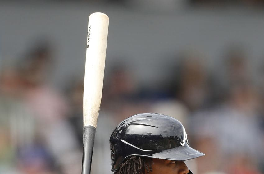 NORTH PORT, FLORIDA - MARCH 10: Ronald Acuna Jr. #13 of the Atlanta Braves at bat against the Houston Astros during a Grapefruit League spring training game at CoolToday Park on March 10, 2020 in North Port, Florida. (Photo by Michael Reaves/Getty Images)