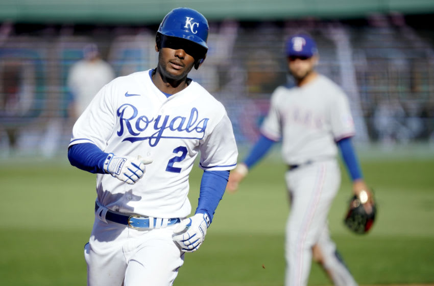 Michael A. Taylor #2 of the Kansas City Royals rounds the bases on his solo home run in the third inning against the Texas Rangers on Opening Day at Kauffman Stadium on April 1, 2021 in Kansas City, Missouri. (Photo by Ed Zurga/Getty Images)
