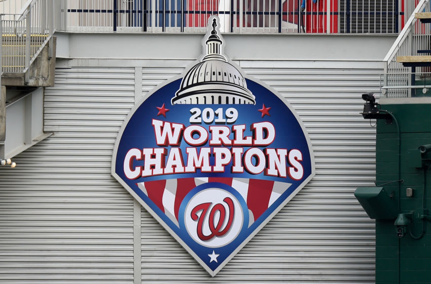 A general view of the 2019 World Series Champions sign at Nationals Park before the game between the Washington Nationals and the Toronto Blue Jays on July 28, 2020 in Washington, DC. (Photo by G Fiume/Getty Images)