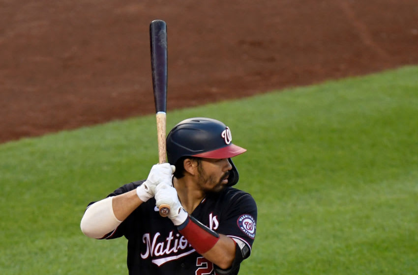 Kurt Suzuki #28 of the Washington Nationals bats against the Tampa Bay Rays at Nationals Park on September 7, 2020 in Washington, DC. (Photo by G Fiume/Getty Images)