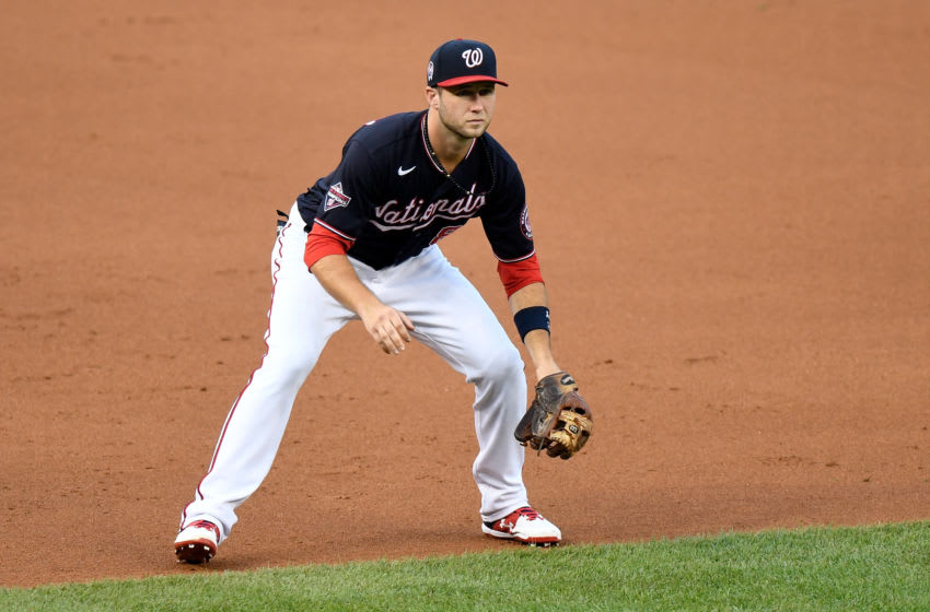 Carter Kieboom #8 of the Washington Nationals plays third base against the Atlanta Braves at Nationals Park on September 11, 2020 in Washington, DC. (Photo by G Fiume/Getty Images)
