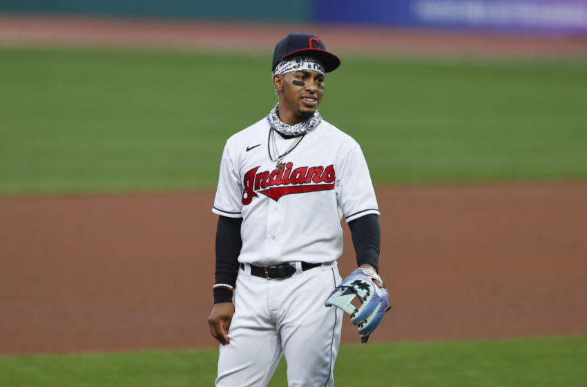 Francisco Lindor #12 of the Cleveland Indians warms up during the fourth inning against the Chicago White Sox at Progressive Field on September 24, 2020 in Cleveland, Ohio. (Photo by Ron Schwane/Getty Images)