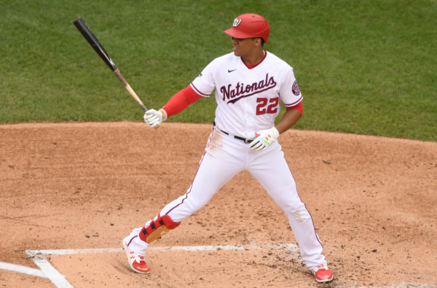 Juan Soto #22 of the Washington Nationals prepares for a pitch during a baseball game against the New York Mets at Nationals Park on September 27, 2020 in Washington, DC. (Photo by Mitchell Layton/Getty Images)