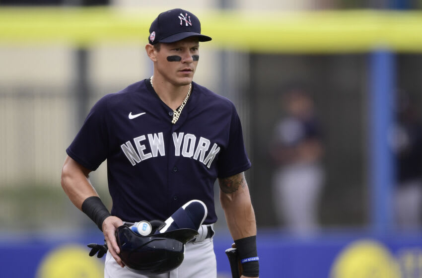 Derek Dietrich #12 of the New York Yankees looks on prior to the game between the Toronto Blue Jays and the Detroit Tigers during a spring training game at TD Ballpark on March 21, 2021 in Dunedin, Florida. (Photo by Douglas P. DeFelice/Getty Images)