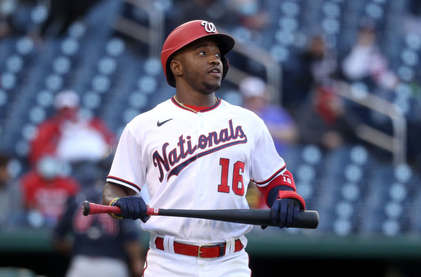 Victor Robles #16 of the Washington Nationals reacts after striking out looking to end the eighth inning against the Atlanta Braves at Nationals Park on May 06, 2021 in Washington, DC. (Photo by Rob Carr/Getty Images)