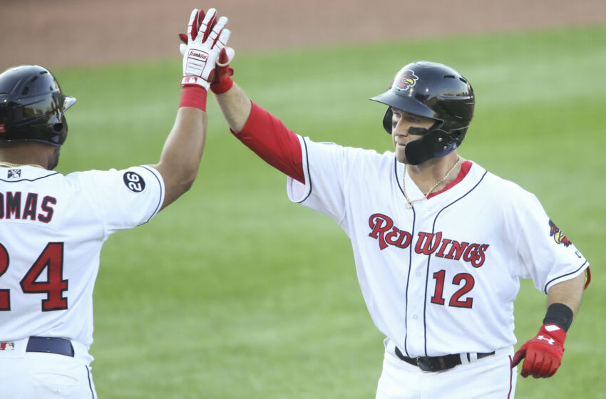 RCarter Kieboom #12 of the Rochester Red Wings celebrates a home run in the first inning against the Scranton/Wilkes-Barre RailRiders at Frontier Field on May 18, 2021 in Rochester, New York. (Photo by Joshua Bessex/Getty Images)