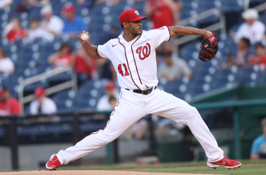 Starting pitcher Joe Ross #41 of the Washington Nationals works the first inning against the Cincinnati Reds at Nationals Park on May 26, 2021 in Washington, DC. (Photo by Patrick Smith/Getty Images)