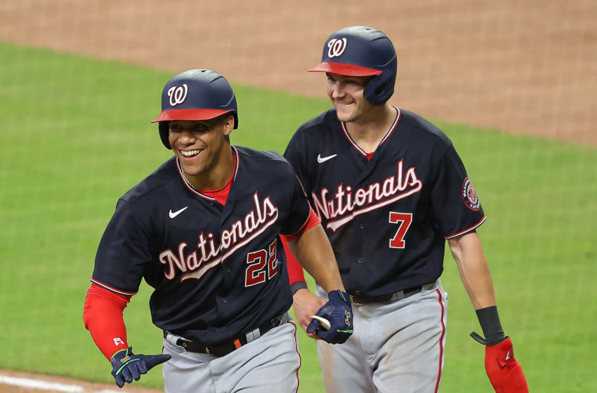 Juan Soto #22 of the Washington Nationals reacts with Trea Turner #7 after hitting a two-run homer in the eighth inning against the Atlanta Braves at Truist Park on June 01, 2021 in Atlanta, Georgia. (Photo by Kevin C. Cox/Getty Images)