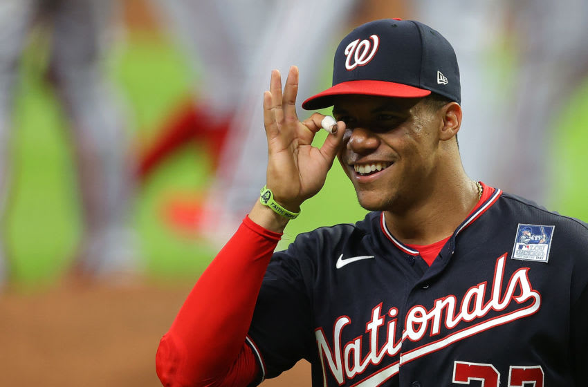 Juan Soto #22 of the Washington Nationals reacts after their 5-3 win over the Atlanta Braves at Truist Park on June 02, 2021 in Atlanta, Georgia. (Photo by Kevin C. Cox/Getty Images)