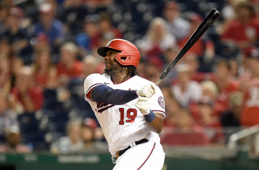 Josh Bell #19 of the Washington Nationals hits a home run in the eighth inning against the Miami Marlins at Nationals Park on July 20, 2021 in Washington, DC. (Photo by Greg Fiume/Getty Images)