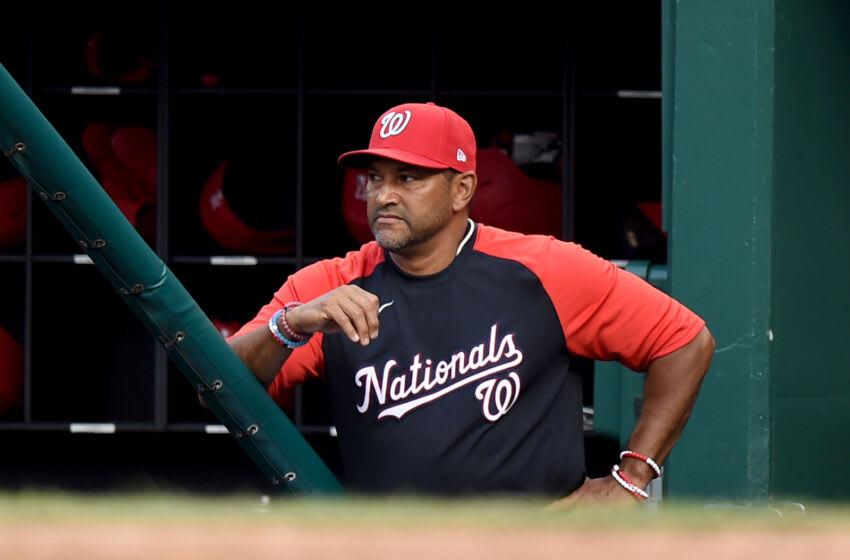 WASHINGTON, DC - JULY 21: Manager Dave Martinez #4 of the Washington Nationals watches the game in the second inning against the Miami Marlins at Nationals Park on July 21, 2021 in Washington, DC. (Photo by Greg Fiume/Getty Images)