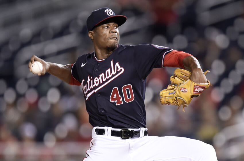 WASHINGTON, DC - AUGUST 13: Josiah Gray #40 of the Washington Nationals pitches in the first inning against the Atlanta Braves at Nationals Park on August 13, 2021 in Washington, DC. (Photo by Greg Fiume/Getty Images)