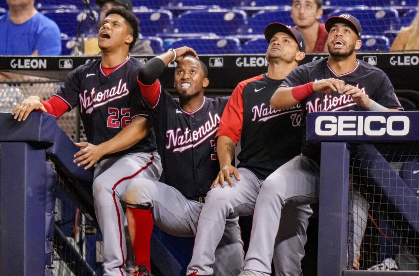 MIAMI, FLORIDA - AUGUST 26: (L-R) Juan Soto #22, Alcides Escobar #3, Gerardo Parra #88, and Luis Garcia #2 of the Washington Nationals react after Riley Adams #25 flies out to end the ball game in the ninth inning against the h at loanDepot park on August 26, 2021 in Miami, Florida. (PMiami Marlinsto by Mark Brown/Getty Images)