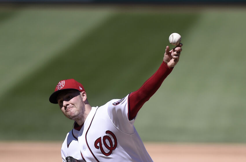 Patrick Corbin #46 of the Washington Nationals pitches in the fifth inning against the New York Mets at Nationals Park on September 06, 2021 in Washington, DC. (Photo by Greg Fiume/Getty Images)