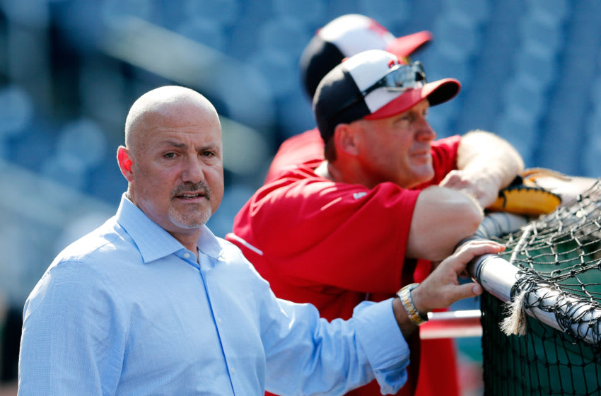 WASHINGTON, DC - JUNE 05: Washington Nationals general manager Mike Rizzo watches the team take batting practice before the start of their game against the New York Mets at Nationals Park on June 5, 2013 in Washington, DC. (Photo by Rob Carr/Getty Images)