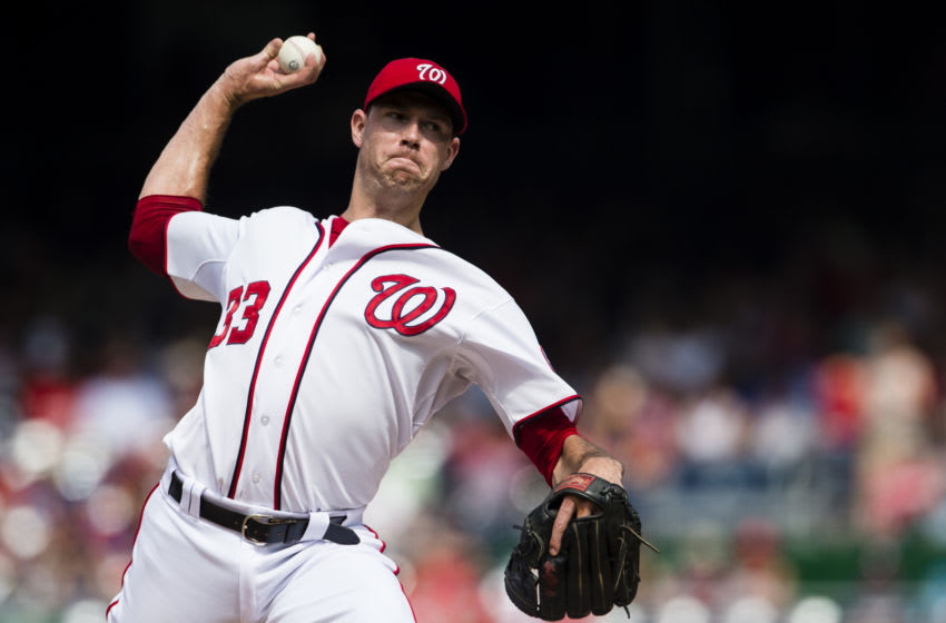 Doug Fister #33 of the Washington Nationals throws a pitch to a Miami Marlins batter in the fifth inning of a baseball game at Nationals Park on August 30, 2015 in Washington, DC. (Photo by Patrick McDermott/Washington Nationals/Getty Images)