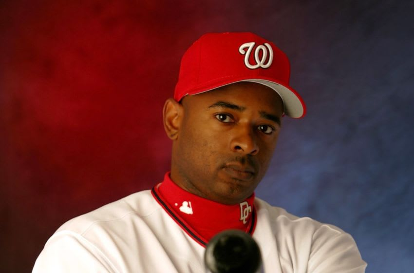 Michael Tucker #34 poses during Washington Nationals photo day on February 27, 2006 at Space Coast Stadium in Viera, Florida. (Photo by Jamie Squire/Getty Images)