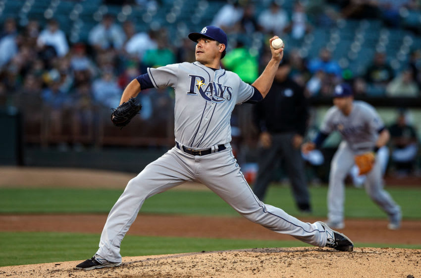 Matt Moore #55 of the Tampa Bay Rays pitches against the Oakland Athletics during the second inning at the Oakland Coliseum on July 21, 2016 in Oakland, California. The Tampa Bay Rays defeated the Oakland Athletics 7-3. (Photo by Jason O. Watson/Getty Images)